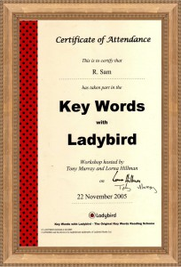 Ladybirds Keyword Reading Scheme Accreditation Certificate